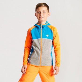 Curate Core - Kinder Midlayer-Jacke - Stretchstoff Atlantikblau/Leuchtorange