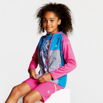 Curate Core - Kinder Midlayer-Jacke - Stretchstoff Atlantikblau/Cyberpink
