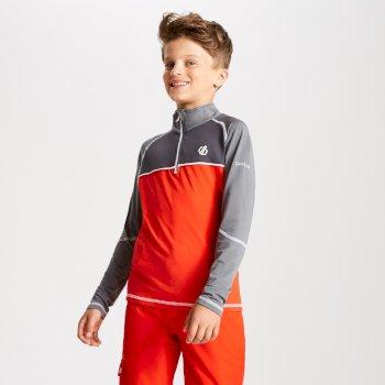 Formate Core Stretch-Midlayer mit halblangem Reißverschluss für Kinder Fiery Red Aluminium Grey