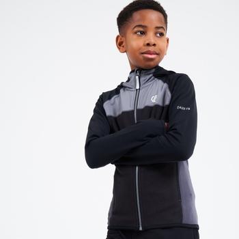 Hasty Leichter Core Stretch-Midlayer Mit Kapuze Und Durchgehendem Reißverschluss Für Kinder Schwarz