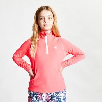 Consist II leichter Core Stretch-Midlayer mit halblangem Reißverschluss für Kinder Rosa