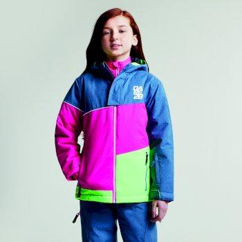 Debut Skijacke für Kinder Astronomy Blue Texture Cyber Pink Neon Green