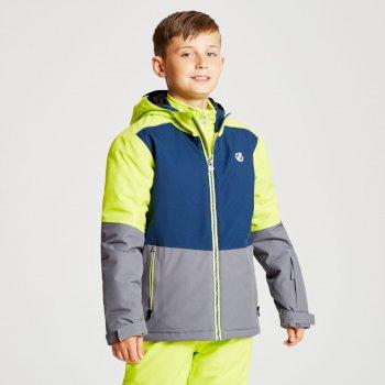 Aviate - Kinder Skijacke Aluminiumgrau/Admiralblau/Limone