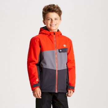 Wrest - Kinder Skijacke Tiefschwarz/Aluminiumgrau/Feuriges Rot