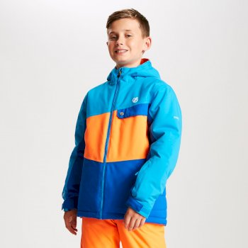 Wrest - Kinder Skijacke Oxfordblau/Leuchtorange/Atlantikblau