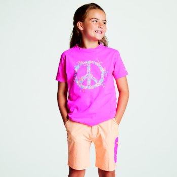 Frenzy T-Shirt für Kinder pink mit Aufdruck Peace