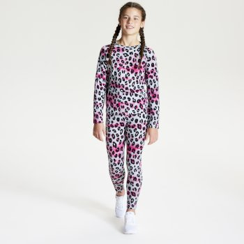 Kids' Partition Base Layer Set - White Leopard Print