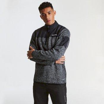 Alliance Herren-Sweatshirt mit halblangem Reißverschluss grau-meliert