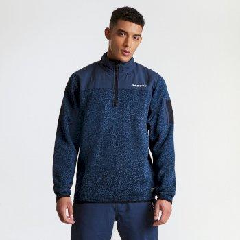 Alliance Herren-Sweatshirt mit halblangem Reißverschluss blau-meliert