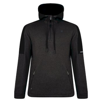 Comply - Herren Fleece-Pullover - Reißverschluss & Kapuze Charcoal Grey Marl Black