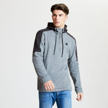Comply - Herren Fleece-Pullover - Reißverschluss & Kapuze Ash Charcoal Grey Marl
