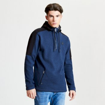 Comply - Herren Fleece-Pullover - Reißverschluss & Kapuze Admiral Blue Black
