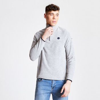 Obstinate - Herren Fleece-Pullover - Reißverschluss - leicht Ash Marl