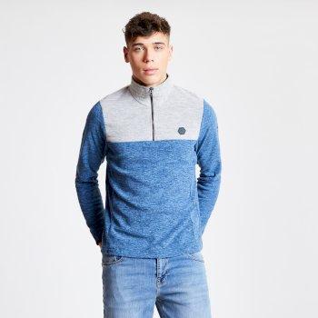 Obstinate - Herren Fleece-Pullover - Reißverschluss - leicht Admiral Blue Marl Ash