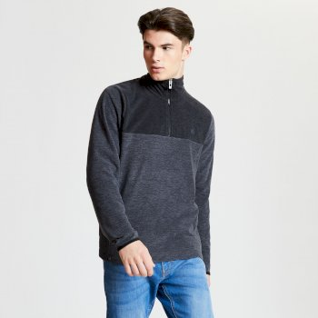 Obstinate - Herren Fleece-Pullover - Reißverschluss - leicht Charcoal Marl Black