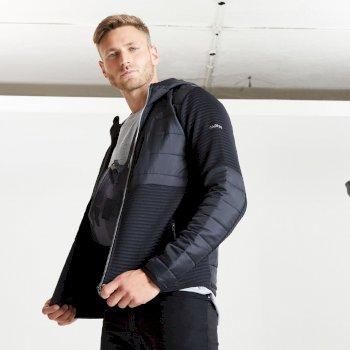 Jenson Button Kollektion - Narrative Hybrid isoliertes Sweatshirt mit durchgehendem Reißverschluss und Kapuze für Herren Schwarz