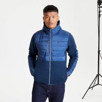 Jenson Button Kollektion - Narrative Hybrid Isoliertes Sweatshirt Mit Durchgehendem Reißverschluss Und Kapuze Für Herren Blau
