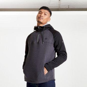 Dare 2b Mens Contradict Half Zip Hooded Fleece Sweatshirt - Charcoal Grey