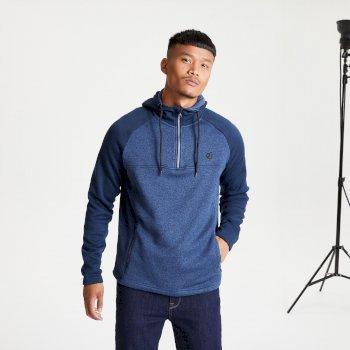 Contradict Fleece-Sweatshirt mit halblangem Reißverschluss und Kapuze für Herren Blau