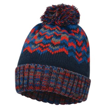 Dare2b Men's Headstrong Bobble Hat - Admiral Blue Fiery Red