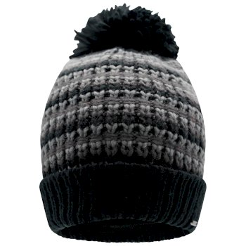 Dare 2b Men's Mind Over II Fleece Lined Knit Bobble Beanie - Black Ebony Grey