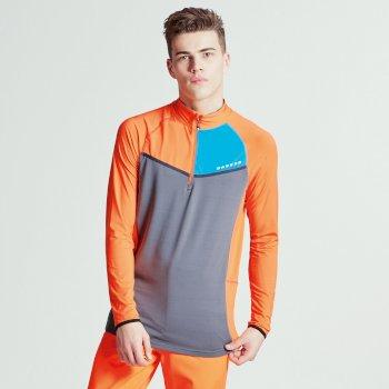 Breaker Stretch-Midlayer für Herren mit halblangem Reißverschluss orange-grau