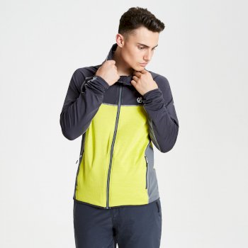 Ratified - Herren Stretchjacke - Kapuze  Lime Aluminium Grey