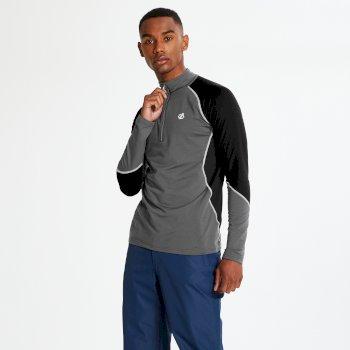 Interfused Core - Herren Stretch-Shirt - Reißverschluss Tiefschwarz/Schwarz
