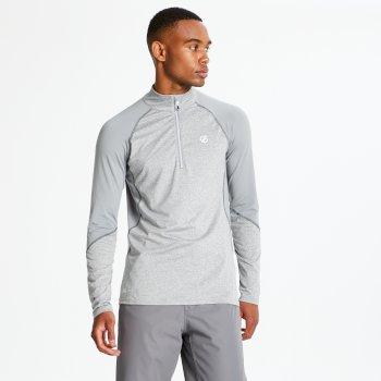 Interfused Core - Herren Stretch-Shirt - Reißverschluss Aschgrau/Wolkengrau