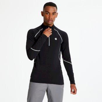 Interfused Core - Herren Stretch-Shirt - Reißverschluss Schwarz