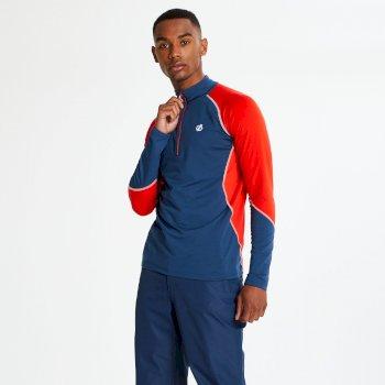 Interfused Core - Herren Stretch-Shirt - Reißverschluss Admiral Blue Fiery Red