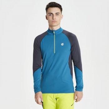 Interfused Core - Herren Stretch-Shirt - Reißverschluss Ozeanblau/Tiefschwarz