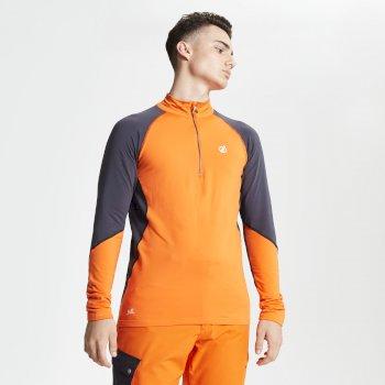 Interfused Core - Herren Stretch-Shirt - Reißverschluss Clementine Ebony