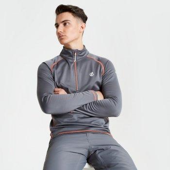 Fuse Up Core - Herren Stretch-Langarmshirt - Reißverschluss Aluminium Grey