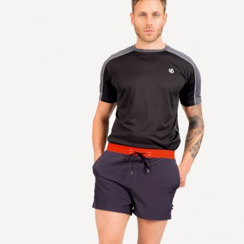 Dare 2b The Jenson Button Edit - Cascade Lightweight Shorts - Ebony Grey Trail Blaze Red