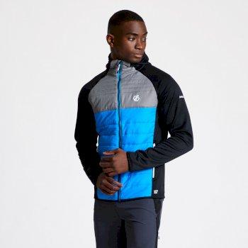 Coordinate Woll-Hybrid-Baffle-Jacke mit Kapuze für Herren Blau