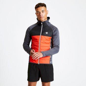 Coordinate Woll-Hybrid-Baffle-Jacke Mit Kapuze Für Herren Rot