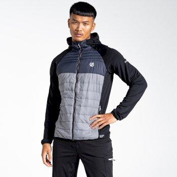 Coordinate Woll-Hybrid-Baffle-Jacke mit Kapuze für Herren Schwarz