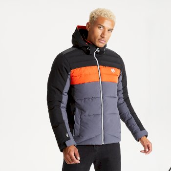 Dare 2b Men's Denote Waterproof Insulated Hooded Ski Jacket - Ebony Grey Black