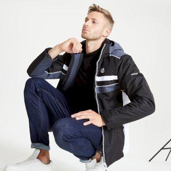 Jenson Button Kollektion - Vindicator wasserdichte, isolierte Skijacke mit Kapuze für Herren Schwarz