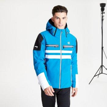 Jenson Button Kollektion - Surge Out Black Label wasserdichte, isolierte Skijacke mit Kapuze für Herren Blau