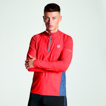 Reacticate - Herren Langarm-Shirt - Reißverschluss Fiery Red