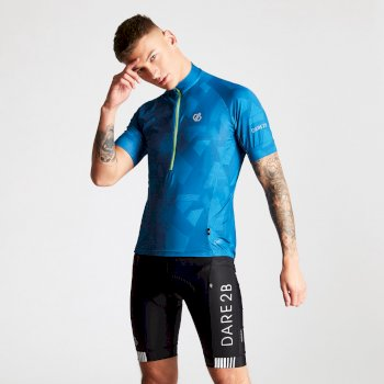Dare 2B Men's Percept Printed Cycling Jersey Petrol Blue