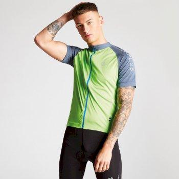 Accurate Fahrrad-Trikot für Herren mit durchgehendem Reißverschluss und vielen Taschen grün-blaugrau