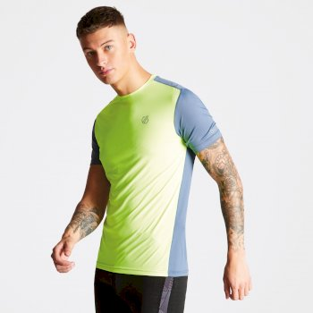 Dare 2b Men's Underlie Active T-Shirt - Fluro Yellow Meteor Grey