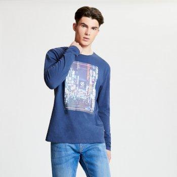 Industry - Herren Langarmshirt mit Grafik-Print Admiral Blue
