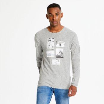 Industry - Herren Langarmshirt mit Grafik-Print Ash Marl
