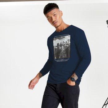 Overdrive langärmeliges Grafik-T-Shirt für Herren Blau