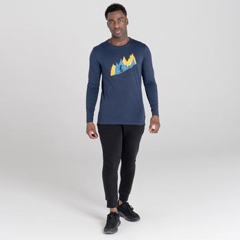 Jenson Button Kollektion - Upgrade langärmeliges Grafik-T-Shirt für Herren Blau