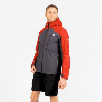 Dare 2b The Jenson Button Edit - Diluent III Waterproof Hooded Jacket - Trail Blaze Red Ebony Grey
